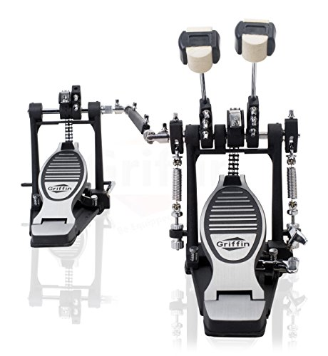 Deluxe Double Kick Drum Pedal for Bass Drum by Griffin   Twin Set Foot...