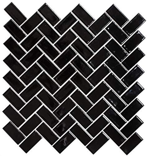 Keramische mozaïek mozaïek tegel keramiek visgraat zwart glanzend voor wand badkamer toilet douche keuken tegelspiegel tegelverkleeding badkuip mozaïekmat mozaïekplaat