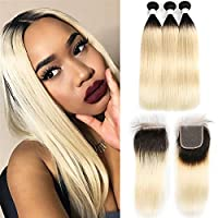 ブラジルのまっすぐな人間の髪の髪の束が付いている閉鎖のオムレ金髪の勾配の髪織り1b / 613人間の髪の毛織りの束と閉じる3つの束 Straight-14inch