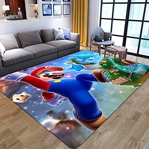 WallDiy Anime de Dibujos Animados Super Mario alfombras de impresión 3D para Sala de Estar Dormitorio Alfombra de área Grande para niños Alfombrillas de Juego para niños Alfombra Grande