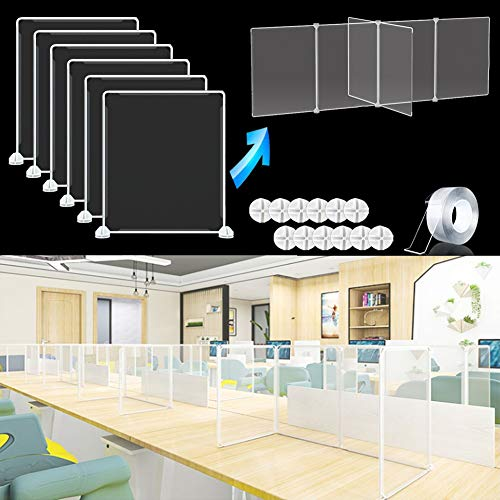 Sneeze Guard Desk Shield Partitions, Transparent Plastic Sneeze Guard Table Divider for Student Tables, 4-Person School Classroom Dining Room Partition Protective Board