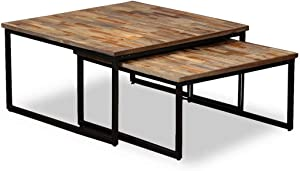 vidaXL 2X Table Basse Gigogne Teck Massif de Récupération Table d'Appoint
