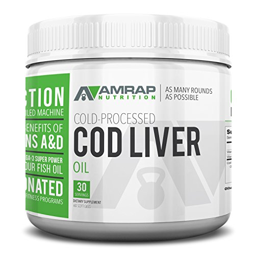 AMRAP Nutrition Fermented Cod Liver Oil, 2,000mg, High Quality, WADA Compliant, Athlete Approved (60 Softgels)
