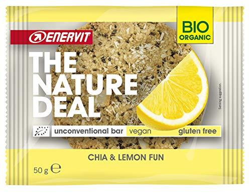 ENERVIT Nature Deal Unconventional Bar | Vegan Energy Riegel aus natürlichen Zutaten | Bio Energie Keks Glutenfrei und Laktosefrei | Für Veganer & Vegetarier (Chia & Zitrone, Einzelriegel à 50g)