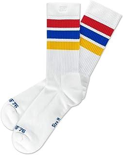 Oldschool Classix Lo - Calcetines para patinaje a media altura, diseño retro, con rayas, color blanco, azul, rojo y amarillo