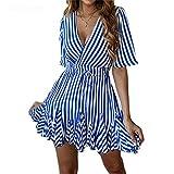 ONLY CHARM Mujer Vestido Sexy Cuello en V, Raya Casual Corta Mangas Verano Vestido Impresión A-Line Corto Vestido, Azul,L