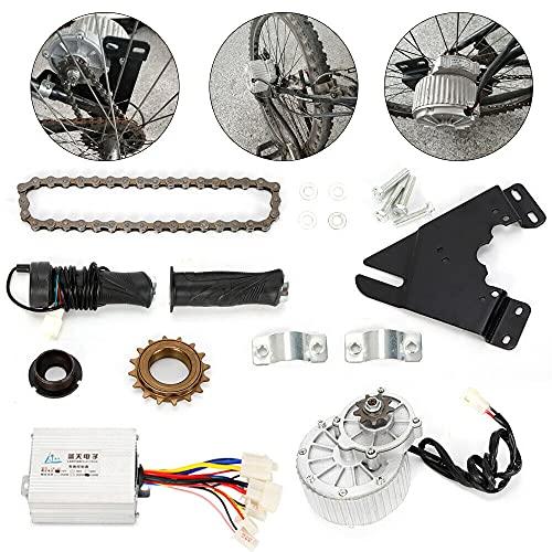 Kit de conversión eléctrica de 450 W para bicicletas eléctricas. Para motor de tierra rara de 24 V CC + cadena + piñón libre para bicicletas eléctricas (24 V 450 W)