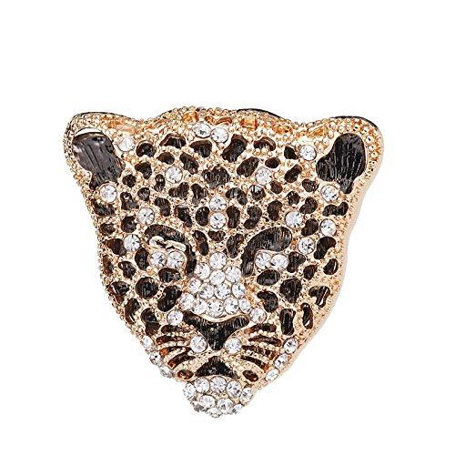 Hochwertige Brosche mit Leopardenkopf-Tiger-Motiv, für Herren, Anzug, Pullover, Anstecknadel für Mäntel, Accessoires (Metallfarbe: Champagnerfarben)
