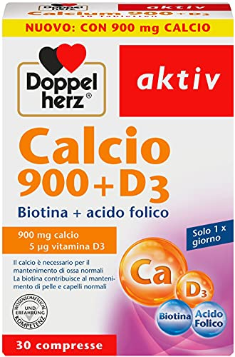 Calcio 900mg e Vitamina D3 - Integratore ad alto Dosaggio con Biotina e Acido Folico -...