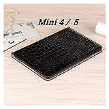 XUEMEI Accesorios de pestañas para iPad Mini 1 2 3 4 5, Caja de Cuero de la Plaga de la Tarjetas de Soporte del Soporte del cocodrilo para iPad Mini 5 7.9 '' (Color : Mini 4 5 Black)