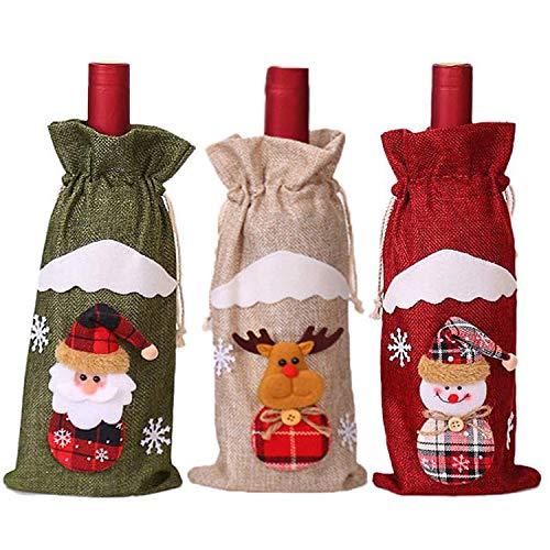 Bolsa de regalo para decoración navideña de vino, bolsa de regalo, decoración para fiestas en casa
