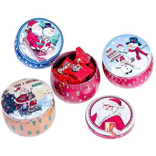 Christmas Cookie Tins,4Pcs Christmas Small Box Iron Box Packaging Gift Box Baking Biscuit Tin Round Candy Tins Biscuit Tin Storage Container with Lid Christmas Cake Tins for Christmas (Ramdom Style)