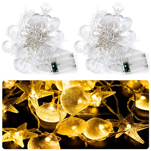 2 Pack Coastal String Lights with Seashell and Starfish- 9.8 Ft 60 Warm Lighted Seashell Starfish Light Decorations Battery Operated Beach Decorative Led Lights for Holiday Birthday Party Home Decors