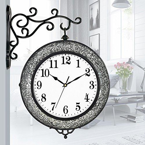Zweiseitige Uhr moderne kreative silber schwarze schwarze Persönlichkeit zerbrochenes Glas Mosaik Wanduhr