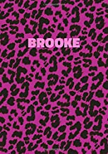 Brooke: Personalized Pink Leopard Print Notebook (Animal Skin Pattern). College Ruled (Lined) Journal for Notes, Diary, Journaling. Wild Cat Theme Design with Cheetah Fur Graphic