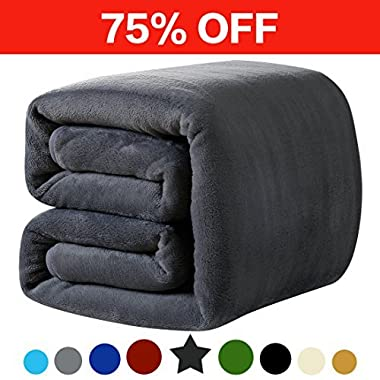 LEISURE TOWN Fleece Blanket Throw Size Soft Summer Cooling Breathable Luxury Plush Travel Camping Blankets Lightweight for Sofa Couch Bed, 50 by 60 Inches, Dark Grey