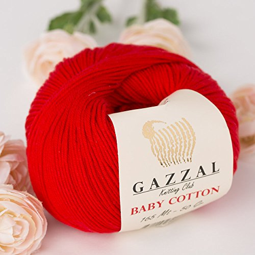 5 Skein (Pack) Total 8.8 Oz. Gazzal Baby Cotton Each 1.76 Oz (50g) / 150 Yrds (165m) Soft, Fine Baby Yarn, 60% Cotton, Red - 3443