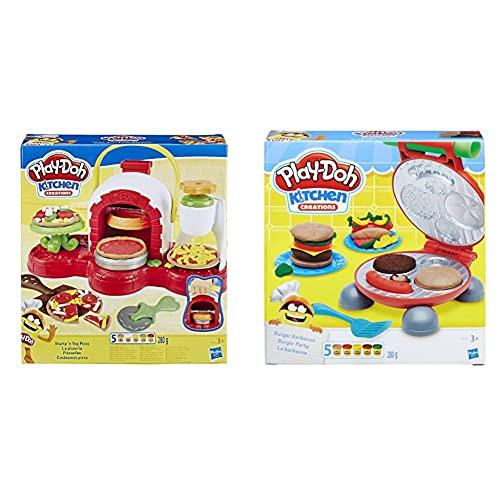 Hasbro Play-Doh La Pizzeria, Play Set con 5 Vasetti di Pasta da Modellare, Multicolore, E4576Eu4 & Play-Doh B5521Eu6 Kitchen Creations Il Burger Set, Colore, 0816B5521Eu6