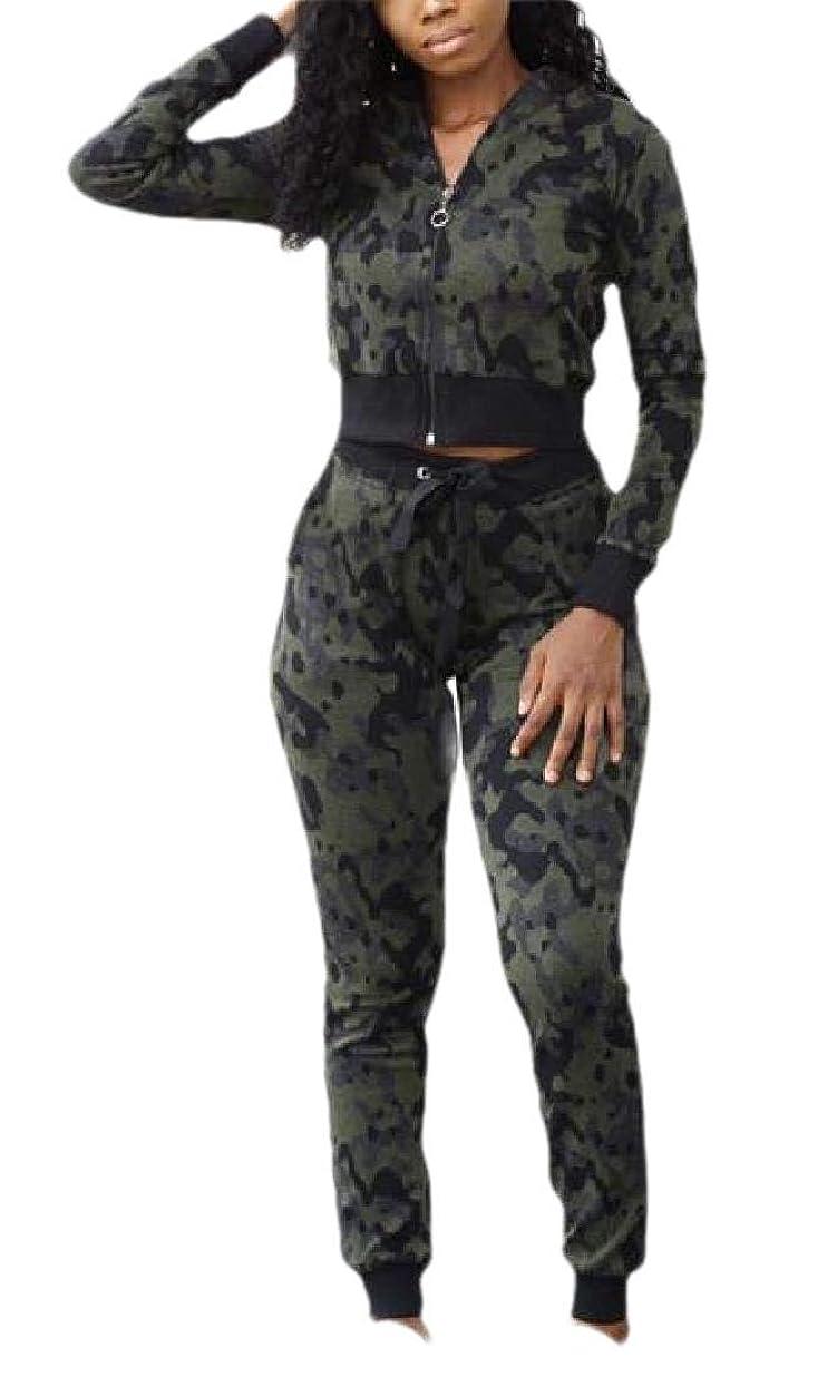 階兵器庫元のレディース2ピース衣装クロップトップジャケットとロングパンツトラックスーツ