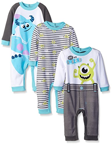 Disney Baby Monsters Inc Mike and Sully Coveralls, Blue, 6 Months (Pack of 3)