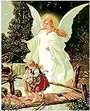 Gqcsglkjdio - Pintura por números para adolescentes por números, kit de pintura de ángel sagrado chica sagrada pintura al óleo La familia decora decoración de pared regalo único, 40 x 50 cm, sin marco