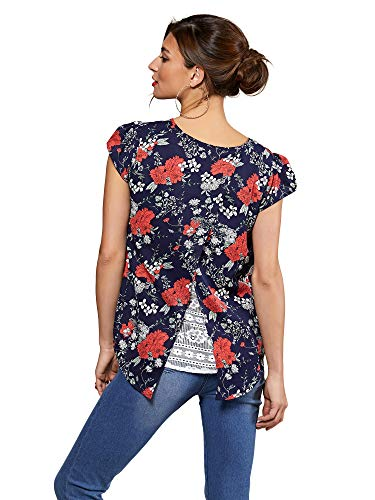 YUMI Unisex Navy Poppy Print Lace Back Top Bluse, 40 DE