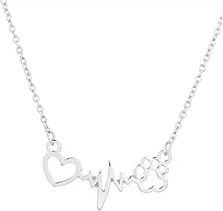MIXIA Cute Animal Cat Dog Puppy Footprint Bracelet Love ECG Heart Heartbeat Paw Print Pendant Necklace