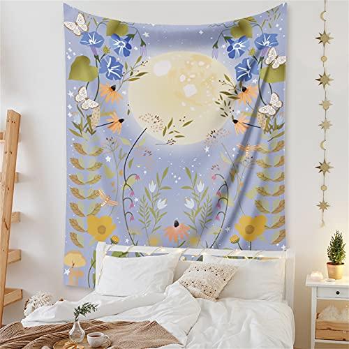 YYRAIN Bohemia Naranja Sol Luna Tapiz Decoraciones para El Hogar Fondo De Pared Tapiz Pasillo Arte De La Pared 28.7x37.4 Inch {73x95cm}