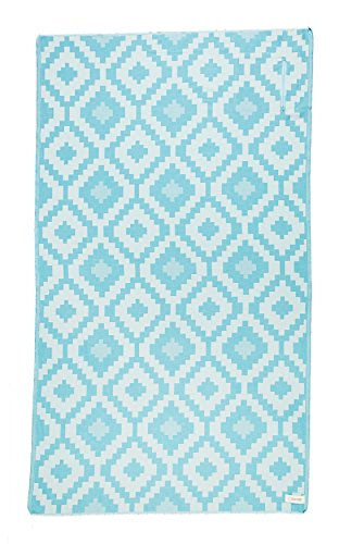 DESIGNER COLLECTION - Bersuse GOTS-Certified 100% Organic Cotton - Barbados Turkse Handdoek - Lichtgewicht Strandlaken, Bath Peshtemal - 95 x 175 cm, Aqua/Natural