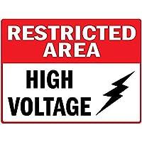 制限区域の高電圧 金属板ブリキ看板警告サイン注意サイン表示パネル情報サイン金属安全サイン