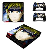 Playstation 4 Slim Skin Set - Naruto HD Printing Vinyl Skin Cover Protective for PS4 Slim Console and 2 PS4 Controller by Mr Wonderful Skin