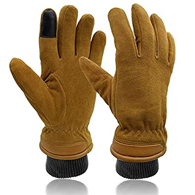 SKYDEER Touch Screen Deerskin Suede Leather Warm Winter Gloves For Driving Running Cycling and Cold Weather Work (SD8653T/M)