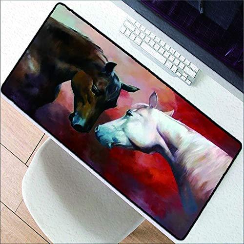 HonGHUAHUI grote muismat bruin wit paard dierspeelmuismat laptop-toetsenbord kwaliteit rubber pad snelheidsversie, 400 x 700 x 2 mm