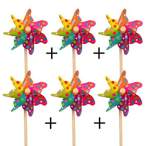 CIM Windspiel - [6er-Set] Moulin 14 Colourdots - UV-beständig und wetterfest - Windrad: Ø14cm, Standhöhe: 32cm - fertig aufgebaut inkl. Standstab