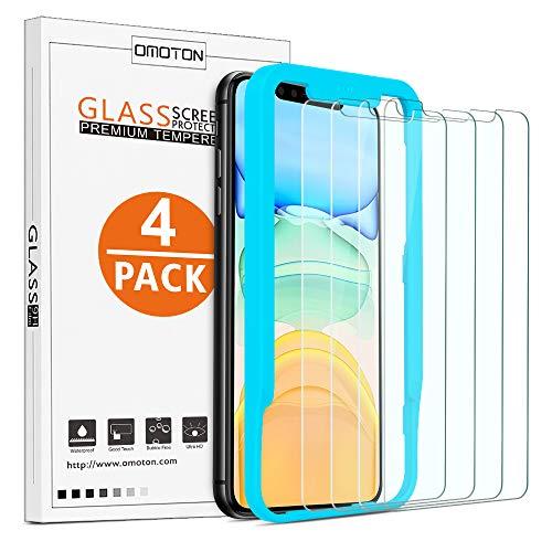 OMOTON [4 Stück] Panzerglas für iPhone 11 & iPhone XR (6,1 Zoll),iPhone 11 Bildschirmschutzfolie mit Positionierhilfe,9H Festigkeit,Anti-Kratzen,Anti-Öl,Anti-Bläschen,[2.5D R&e Kante]