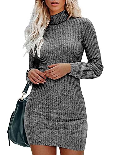 Gemijacka Sweter damski z golfem, sukienka z dzianiny, talowany, z długim rękawem, jednoczęściowy, seksowna sukienka mini na jesień i zimę