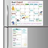 Dry Erase Fridge Magnetic Calendar - White Board Magnetic Calendar for Refrigerator Wall Home Kitchen Decor, 15'x 11.5', Bonus Grocery List Magnet Pad for Fridge