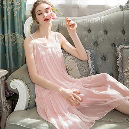 YPDM Pajamas Summer,Summer Girl Sleeping Skirt Plus Size Sweet Lovely Korean Loose Chiffon Night Dress Women Sexy Lace Sleepwear Princess Nightgown,Pink,S