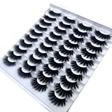 HBZGTLAD 20 pairs 3D Mink Lashes Natural False Eyelashes Dramatic Volume Fake Lashes Makeup Eyelash Extension Silk Eyelashes(001)