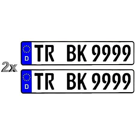 2 Stück Standard Pkw Eu Kennzeichen 520 X 110 Mm 52 X 11 Cm Nummernschilder Autoschilder Wunschkennzeichen Saison H Historisch E Elektro Beste Qualität Doppelt Foliert Auto