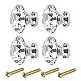 Kissral Tiradores para Cajones Vintage 4pcs Pomos y Tiradores Cristal Tiradores de Muebles Infantiles Tirador de Puerta con Forma de Diamante con 4 Tornillos Accesorios para Muebles para Armario