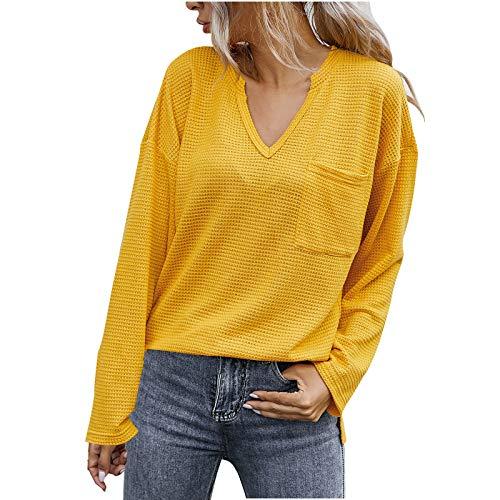 Suéter de Mujer Túnica de Color sólido Cuello en V cálido Camisas de Manga Larga Blusas Casuales Tops con...