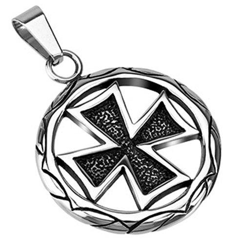 BlackAmazement Unisex Edelstahl Anhänger Medaillon Iron Cross Eisernes Kreuz Celtic silber Gothic (Ausführung ohne Kette)