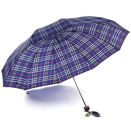 Paraguas Plegable de Viaje a Prueba de Agua, 300T Paraguas de Gran Empresa de Negocios 10 Paraguas de Hueso Pesado Hueso Viento Fuerte Resistencia Plegable Unisex
