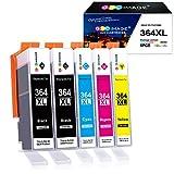 GPC Image Kompatible Tintenpatronen für HP 364XL 364 XL für HP Deskject 3520, 3070A Photosmart 5510 5520 5524 7510 7520 6510 6520 5515 b110a b109a Officejet 4620 4622 (2Schwarz, Cyan, Magenta, Gelb)