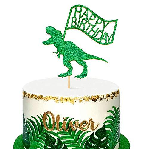 Unimall 1 Pack Dinosaurier Alles Gute zum Geburtstag Cake Topper Green Glitter Dino Dschungel Kuchen Pick Babyparty Kinder Geburtstagsfeier Kuchen Dekorationen Zubehör