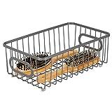 mDesign Contenitore con maniglie integrate – Piccolo organizer da bagno in filo metallico – Pratico cesto per cosmetici, accessori bagno e asciugamani – grigio scuro