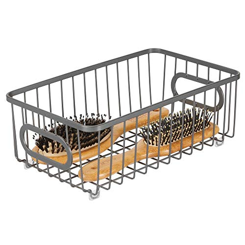 mDesign Caja organizadora de metal con asas integradas – Estrechas cestas de almacenaje con atractivo diseño de alambre – Ideal como organizador de baño para cosméticos – gris oscuro
