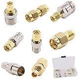 AiCheaX Kit adaptateur SMA 8 en 1 avec boîtier SMA mâle vers N, F, SO239, PAL, connecteur MCX...