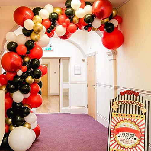 DIY Balloon Arch Red Black White Balloons Garland Kit-135pcs Red, Black, White, Chrome Gold and 4D Balloons Party Decorations for Baby Shower, Circus Birthday Party, Wedding, Grad, Casino Theme Party